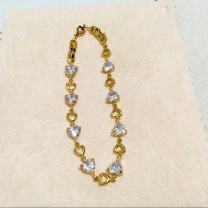 New heart stone gold filled adjustable bracelet